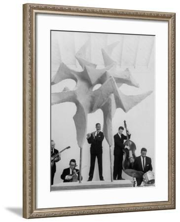 """Jazz Drummer Chico Hamilton Playing with Band Behind Sculpture Called """"Counterpoints""""-Gordon Parks-Framed Premium Photographic Print"""