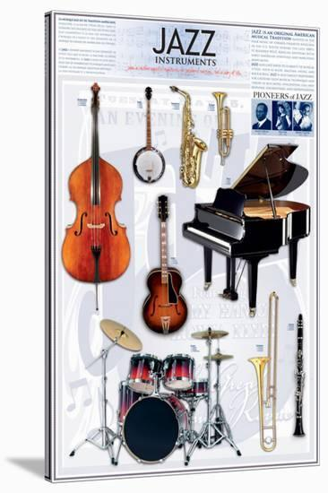 Jazz Instruments--Stretched Canvas Print