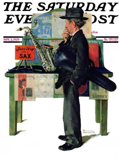 """Jazz It Up"" or ""Saxophone"" Saturday Evening Post Cover, November 2,1929-Norman Rockwell-Giclee Print"