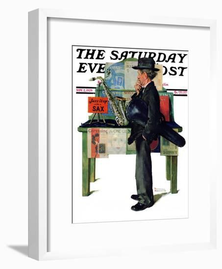 """""""Jazz It Up"""" or """"Saxophone"""" Saturday Evening Post Cover, November 2,1929-Norman Rockwell-Framed Giclee Print"""