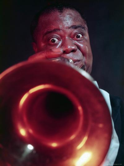 Jazz Musician Louis Armstrong Blowing on Trumpet-Eliot Elisofon-Premium Photographic Print