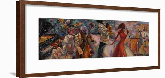Jazz Singer, Jazz Club, Jazz Band,Oil Painting, Artist Roman Nogin, Series Sounds of Jazz. Looking-ROMAN NOGIN-Framed Photographic Print