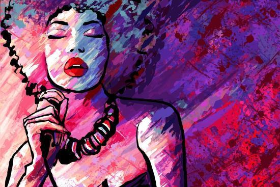 Jazz Singer with Microphone on Grunge Background - Vector Illustration-isaxar-Art Print