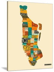 Manhattan Typographic Map by Jazzberry Blue