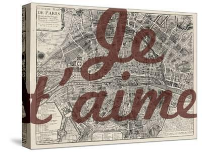 Je Taime - Paris, France, Vintage Map