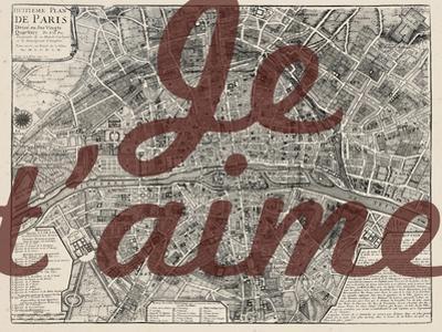 Je Taime - Paris, France, Vintage Map