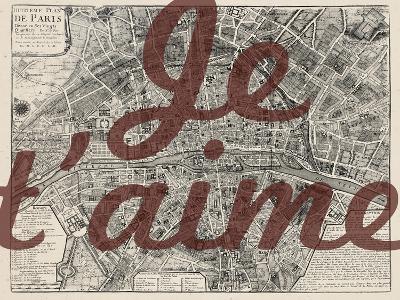 Je Taime - Paris, France, Vintage Map--Giclee Print