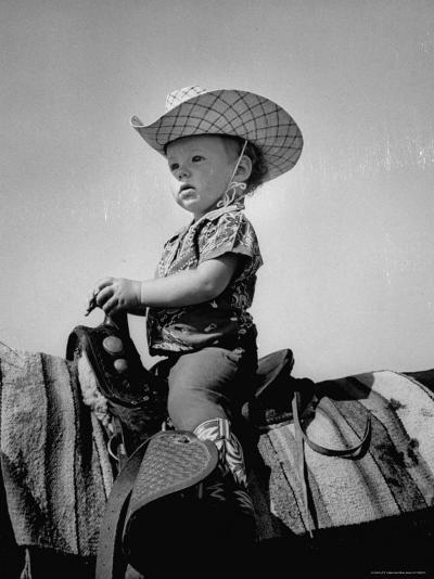 Jean Anne Evans, 14 Month Old Texas Girl Riding Horseback-Allan Grant-Photographic Print