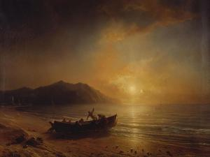 A Coastal Landscape with Arab Fishermen Launching a Boat at Sunset by Jean Antoine Theodore Gudin