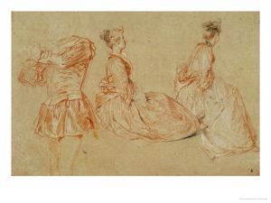 A Flutist, Two Women, Red Chalk, White Wash by Jean Antoine Watteau