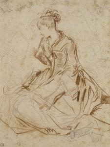 Jeune femme et deux enfants by Jean Antoine Watteau