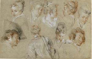 Neuf études de têtes by Jean Antoine Watteau