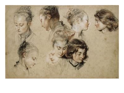 Six études de têtes de jeune femme et deux de têtes de jeunes garçons