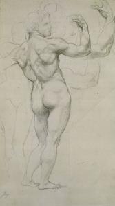 """Etude pour """"l'Âge d'or"""" : homme nu vu de dos by Jean-Auguste-Dominique Ingres"""