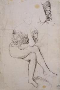 Etude pour le portrait de la baronne James de Rothschild by Jean-Auguste-Dominique Ingres