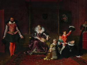 French King Henri IV Plays with His Children as the Spanish Ambassador Enters by Jean-Auguste-Dominique Ingres