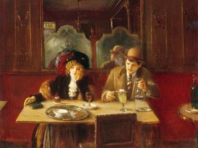 Au café, l'absinthe by Jean B?raud