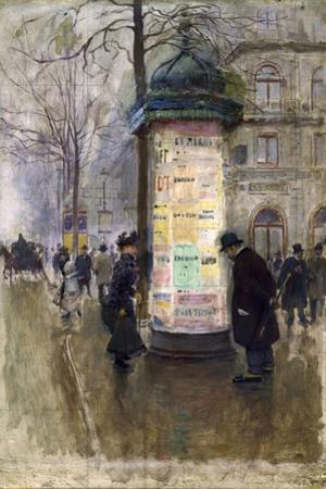 La Colonne Morris (angle de la rue Laffite et du boulevard des Italiens) by Jean B?raud