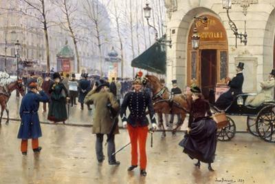 Le Boulevard des Capucines et le Théâtre du Vaudeville by Jean B?raud