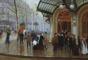 Outside the Theatre Du Vaudeville, Paris by Jean B?raud