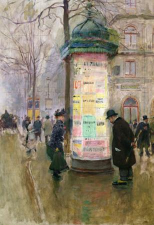 The Colonne Morris, circa 1885 by Jean B?raud