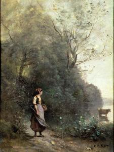 A Peasant Woman Grazing a Cow at the Edge of a Forest by Jean-Baptiste-Camille Corot