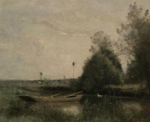 A Pond in Mortain, C.1860-70 by Jean-Baptiste-Camille Corot
