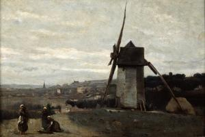 A Windmill, Etretat, 19th Century by Jean-Baptiste-Camille Corot