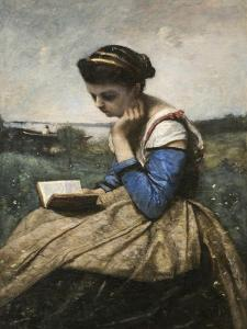 A Woman Reading by Jean-Baptiste-Camille Corot