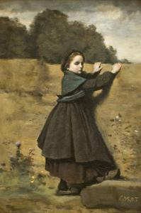 Curious Little Girl by Jean-Baptiste-Camille Corot