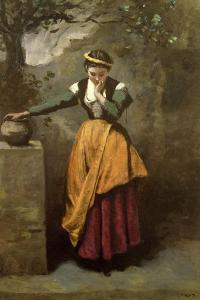 Dreamer at the Fountain, C.1860 by Jean-Baptiste-Camille Corot
