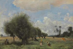 Fields Near Étampes, C.1855-60 by Jean-Baptiste-Camille Corot