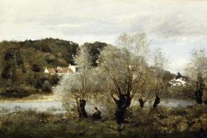 Fisherman on the Edge of a Pond in the Village of Avary; Pecheur Au Bord De L'Etang a Ville… by Jean-Baptiste-Camille Corot