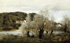 Fisherman on the Edge of a Pond in the Village of Avary by Jean-Baptiste-Camille Corot