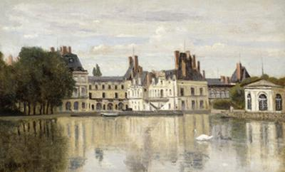 Fontainebleau - View of the Chateau and Lake by Jean-Baptiste-Camille Corot