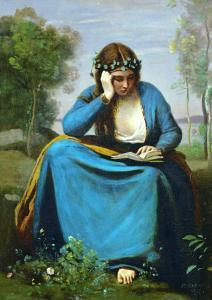 Girl Reading Crowned with Flowers or Virgil's Muse by Jean-Baptiste-Camille Corot