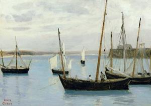 Granville, Fishing Boats, C.1860 by Jean-Baptiste-Camille Corot