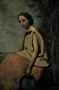 Gypsy Woman With Tambourine by Jean-Baptiste-Camille Corot