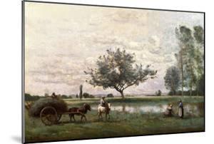 Haycart Beside a River by Jean-Baptiste-Camille Corot