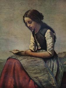 'La petite Liseuse ou Jeune bergère assise et lisant', c1855 by Jean-Baptiste-Camille Corot