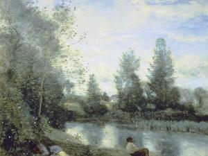 On the Riverbank by Jean-Baptiste-Camille Corot