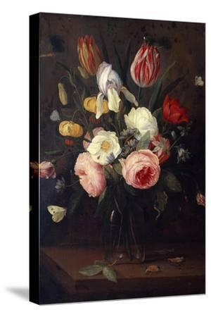 Roses, Tulips and Other Flowers in a Glass Vase, with Insects, on a Table