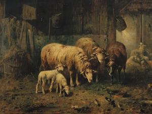 Sheep in a Barn by Jean-Baptiste-Camille Corot