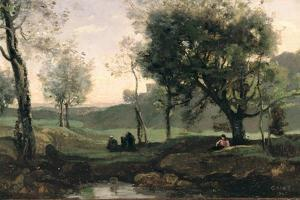 Sunset: Figures under Trees by Jean-Baptiste-Camille Corot