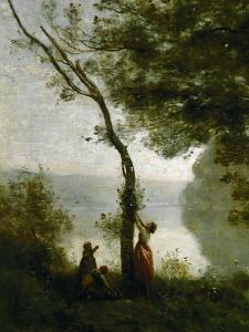 Tree and Woman, Souvenir of Mortefontaine, France by Jean-Baptiste-Camille Corot