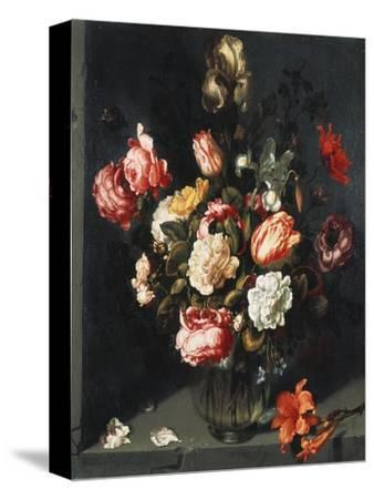 Tulips, Peonies, a Lily, Iris and Other Flowers in a Glass Vase, in a Niche, 1619