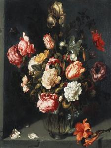 Tulips, Peonies, a Lily, Iris and Other Flowers in a Glass Vase, in a Niche, 1619 by Jean-Baptiste-Camille Corot