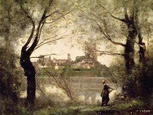 View of the Town and Cathedral of Mantes Through the Trees, Evening by Jean-Baptiste-Camille Corot
