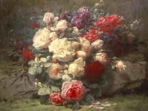 Bouquet of Pink Roses and Scented Stocks by Jean Baptiste Claude Robie