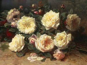 Pink and Yellow Roses by Jean Baptiste Claude Robie